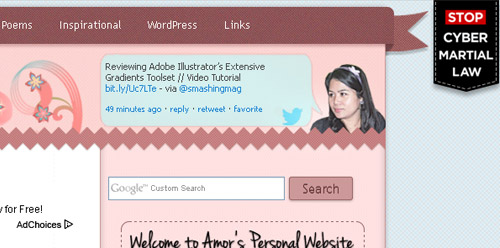 Screenshot of my site using Stop Cyber Martial Law Ribbon WordPress Plugin