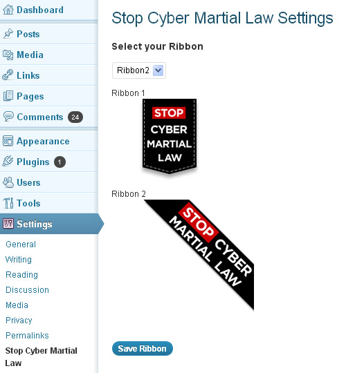Stop Cyber Martial Law Ribbon WordPress Plugin Settings